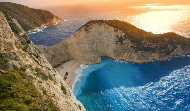 Shipwreck Beach (Navagio) on the island of Zakynthos.