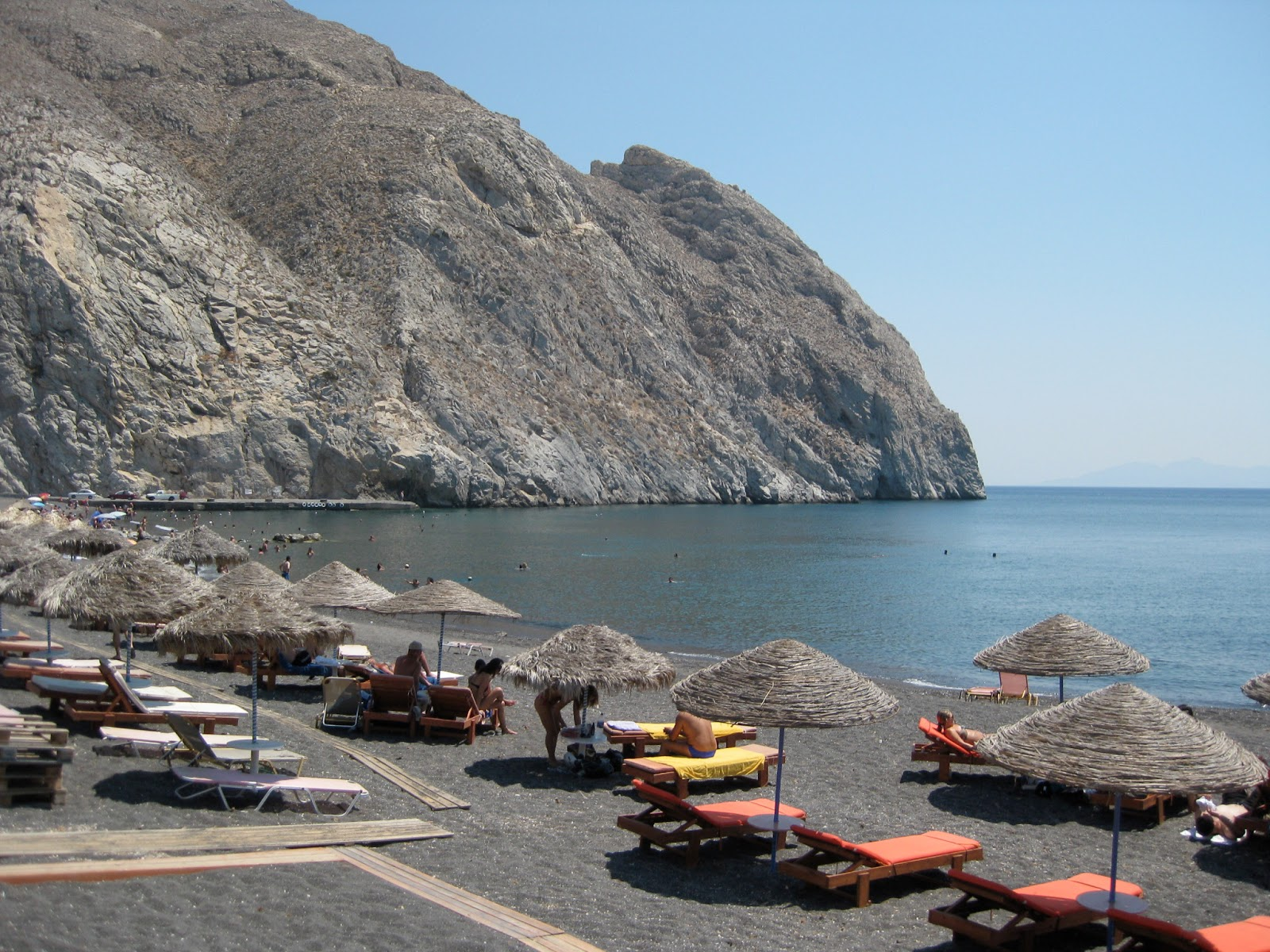 Perissa Beach on the island of Santorini.
