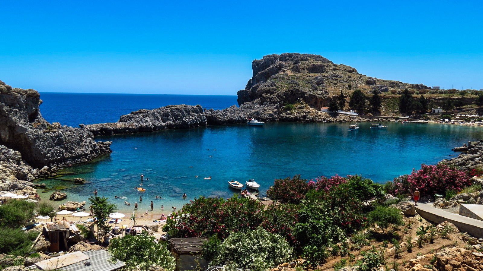Saint Paul's Bay (Agios Pavlos) in Lindos on the island of Rhodes.
